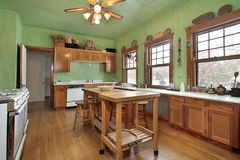 Kitchen with green walls Stock Photos