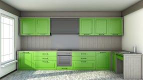 Kitchen in green in white interior Stock Photos