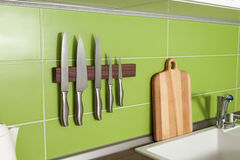 Kitchen in green white stock images