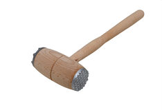 Kitchen hammer, isolated on white background. Wooden hammer for meat, isolated Royalty Free Stock Image