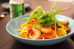 Cooking pasta, sumptuous dinner, Italian tomato seafood noodles,. The kitchen has been cooked in the wobbled dinner, close-up Italian tomato seafood noodles Stock Images