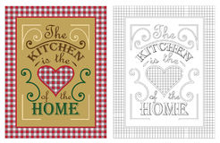 The Kitchen is the heart of the home poster design. Royalty Free Stock Photos
