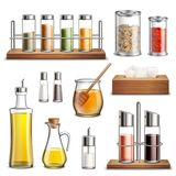 Kitchen Herbs Spices Realistic Set. Kitchen herbs and spices rack cooking oil carafe bottle sugar dispenser and honey jar realistic set vector illustration Royalty Free Stock Photos