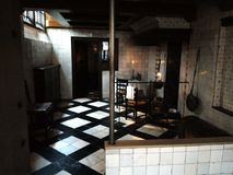 Old fashion kitchen, dark room of à hidden church of Netherlands royalty free stock image