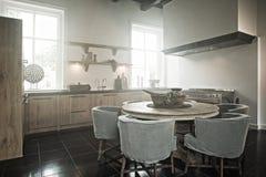 Kitchen Haze. Kitchen in historic home with smoke haze stock image