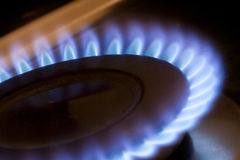 Kitchen hob. Gas flame on a kitchen hob Stock Image