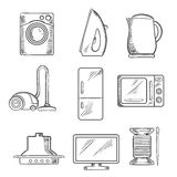 Kitchen and home appliance sketched icons Stock Images