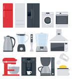 Kitchen home appliances icons set. Flat style Stock Photo