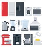 Kitchen home appliances icons set. Flat style Stock Photo