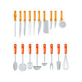 Kitchen home culinary equipment flat vector illustration. Royalty Free Stock Photography