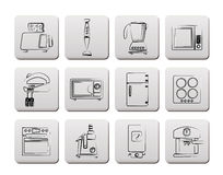 Kitchen and home equipment icons Royalty Free Stock Photo