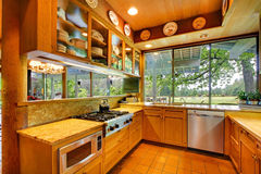 Kitchen on the horse ranch with nature views Royalty Free Stock Photos
