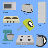 Kitchen and house appliances. Flat style vector illustration Royalty Free Stock Photo