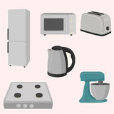 Kitchen and house appliances. Refrigerator, microwave, toaster, electric kettle gas stove mixer vector illustration