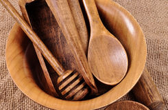 Kitchen house wooden belongings. A plate, a spoon, Stock Image