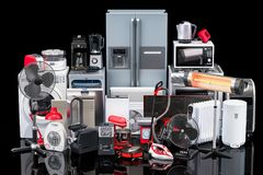 Kitchen and household appliances on black background. 3D renderi Stock Illustration