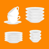 Kitchen household cutlery clean teacups and white ceramic plate stacked vector illustration set.  Royalty Free Stock Photos