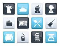 Kitchen and household equipment icons over color background. Vector icon set stock illustration