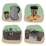 Kitchen icon - four variations Royalty Free Stock Photography