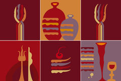 Kitchen icon. Set containing 6 kitchen icons Royalty Free Stock Photography