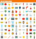 100 kitchen icon set, flat style. 100 kitchen icon set. Flat set of 100 kitchen vector icons for web design Royalty Free Illustration