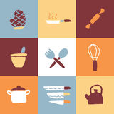 Kitchen Icon Set and Signs Royalty Free Stock Photo
