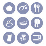 Kitchen icon set, tools for web design presentation in  Royalty Free Stock Photography