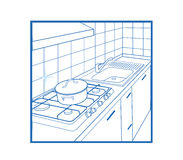 Kitchen Icon white Royalty Free Stock Photography