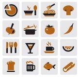 Kitchen icons. Vector black kitchen icons set on gray vector illustration