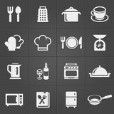 Kitchen icons on black background. Vector Royalty Free Stock Photos