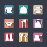 Kitchen icons. Flat set. long shadows Royalty Free Stock Images