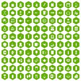 100 kitchen icons hexagon green Stock Photography