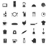 Kitchen icons with reflect on white background Stock Images