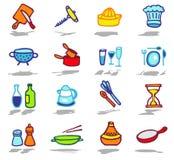 kitchen icons set royalty free stock photography