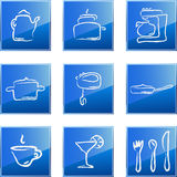 Kitchen icons set. Vector illustration of blue glossy icons with kitchen equipment Stock Images