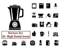 24 Kitchen Icons. Set of 24 Kitchen Icons in Black Color Royalty Free Stock Photos