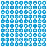 100 kitchen icons set blue. 100 kitchen icons set in blue hexagon isolated vector illustration Royalty Free Stock Photos