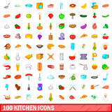 100 kitchen icons set, cartoon style. 100 kitchen icons set in cartoon style for any design vector illustration Stock Photos