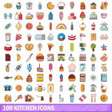 100 kitchen icons set, cartoon style. 100 kitchen icons set. Cartoon illustration of 100 kitchen vector icons isolated on white background Stock Photo