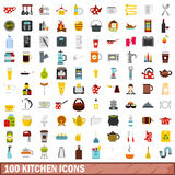 100 kitchen icons set, flat style Stock Photos