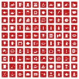 100 kitchen icons set grunge red. 100 kitchen icons set in grunge style red color isolated on white background vector illustration Stock Image