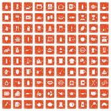 100 kitchen icons set grunge orange. 100 kitchen icons set in grunge style orange color isolated on white background vector illustration Stock Photos