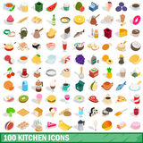 100 kitchen icons set, isometric 3d style Royalty Free Stock Photo