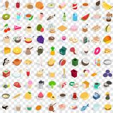 100 kitchen icons set, isometric 3d style Royalty Free Stock Photos