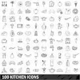 100 kitchen icons set, outline style. 100 kitchen icons set in outline style for any design vector illustration Stock Photography