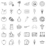 Kitchen icons set, outline style. Kitchen icons set. Outline style of 36 kitchen vector icons for web isolated on white background Royalty Free Stock Image