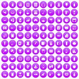 100 kitchen icons set purple. 100 kitchen icons set in purple circle isolated on white vector illustration Stock Illustration