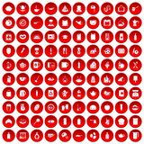100 kitchen icons set red. 100 kitchen icons set in red circle isolated on white vector illustration Royalty Free Stock Images