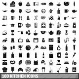100 kitchen icons set in simple style Royalty Free Stock Image