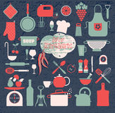 Kitchen icons set of tools. Stock Photo